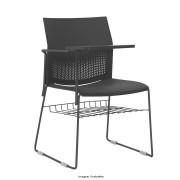 Cadeira fixa Connect com prancheta fixa e gradil encosto e assento em polipropileno