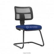 Cadeira Interlocutor fixa Zip com encosto em tela e assento estofado Estrutura fixa em S cor Preta