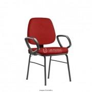 Cadeira Interlocutor Job fixa com 4 pés e apoio de braço