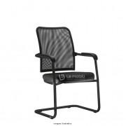 Cadeira Interlocutor Soul com encosto em tela Estrutura Ski em aço cor preto com Braços integrados