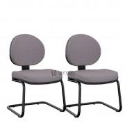 """Cadeira Operativa Plus Interlocutor Executiva com Base em """"S"""" Sem Braços Kit com 2 unidades"""