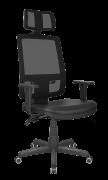 Cadeira Presidente Giratória Brizza Tela com Apoio de Cabeça Mecanismo Back-Systen e Braços Reguláveis