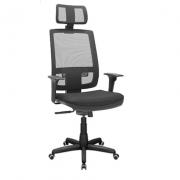 Cadeira Presidente Giratória Brizza Tela com Apoio de Cabeça Mecanismo Relaxita - Plaxmetal