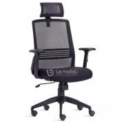 Cadeira Presidente Giratória Song com apoio de cabeça encosto em tela Braços Reguláveis e Base Piramidal com mecanismo sincronizado Preta