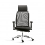 Cadeira Presidente Soul com encosto em tela e apoio de cabeça fixo Braços Reguláveis e Mecanismo de ajuste Sincronizado com auto ajuste e Base em aluminio