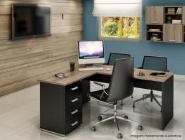 Mesa de Escritório em L com Gaveteiro Pedestal - Prima Clean