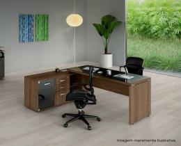 Mesa de Escritório Diretiva em L com Armário - Prima Impact