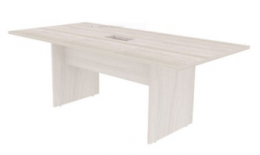 Mesa de Reunião Retangular Tampo 25mm com 01 Caixa para Tomadas - Prima Clean