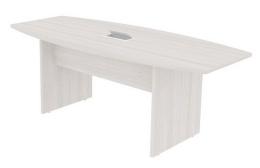 Mesa de Reunião Semi Oval com 01 Caixa para Tomadas - Prima Clean