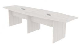 Mesa de Reunião Semi Oval 300x120cm Tampo 25mm Bipartido com 02 Caixas para Tomadas - Prima Clean