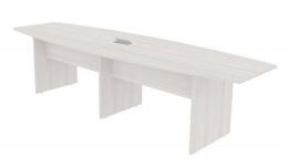 Mesa de Reunião Semi Oval 300x120cm Tampo 25mm Bipartido com 01 Caixa para Tomadas - Prima Clean