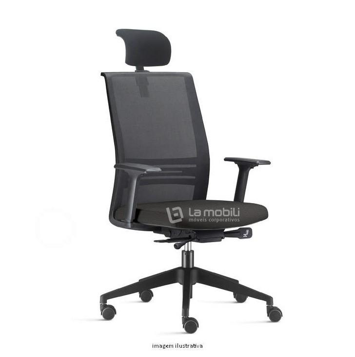 Cadeira Agile Presidente com Apoio de Cabeça, Encosto em Tela, Braços Reguláveis e Base Piramidal