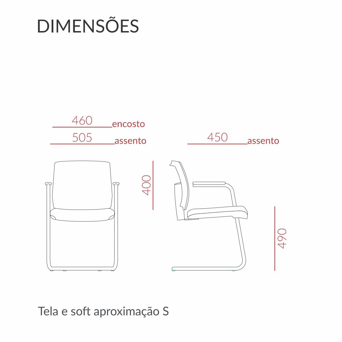 Cadeira Brizza Soft Interlocutor com Base Fixa em S e Estrutura Cromada Kit com 2 Unidades