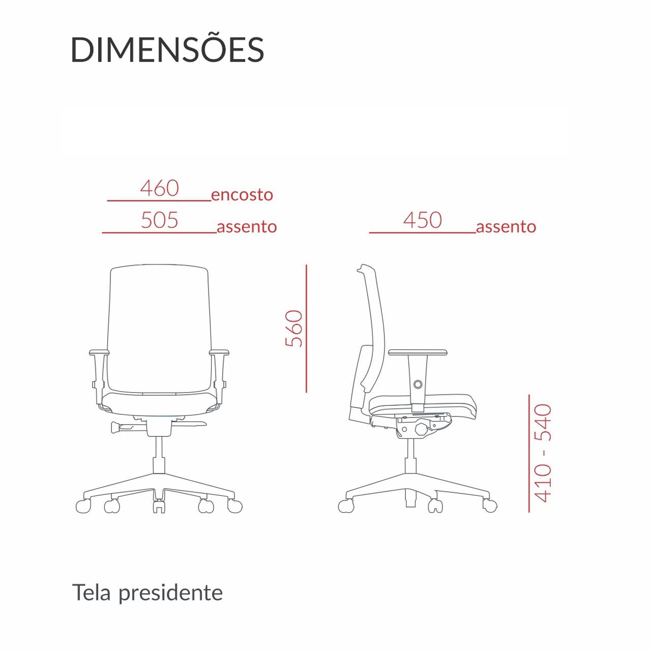 CADEIRA BRIZZA SOFT PRESIDENTE GIRATÓRIA COM BRAÇOS 3D, BASE PIRAMIDAL E MECANISMO BACKPLAX