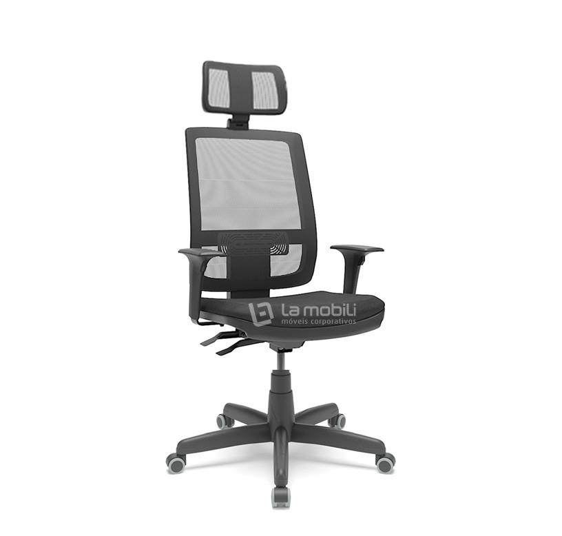 Cadeira Brizza Tela Presidente Giratória com Apoio de Cabeça Mecanismo Back-Systen e Braços Reguláveis