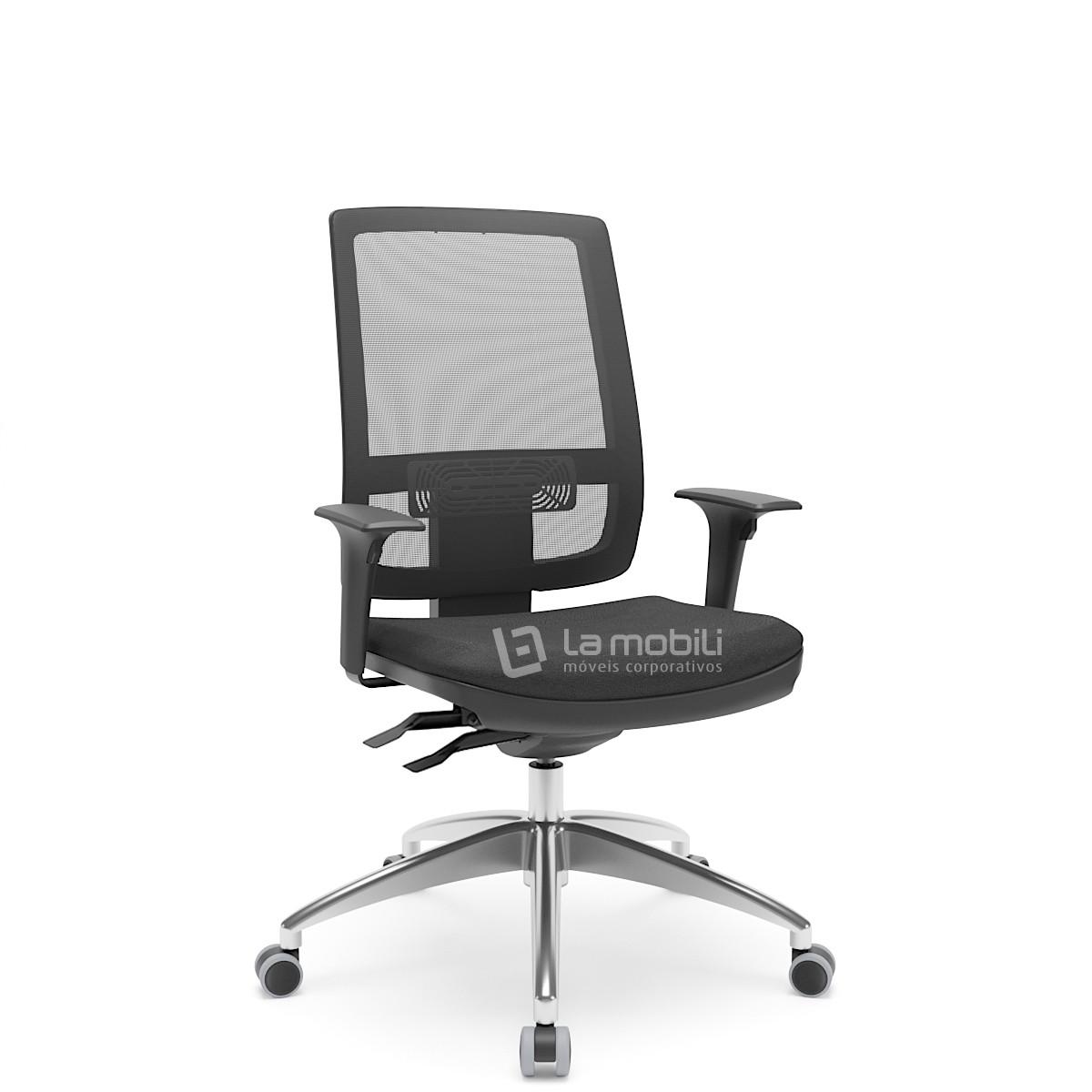 Cadeira Brizza Tela Presidente Giratória com Base em Alumínio e Braços Reguláveis - NR17