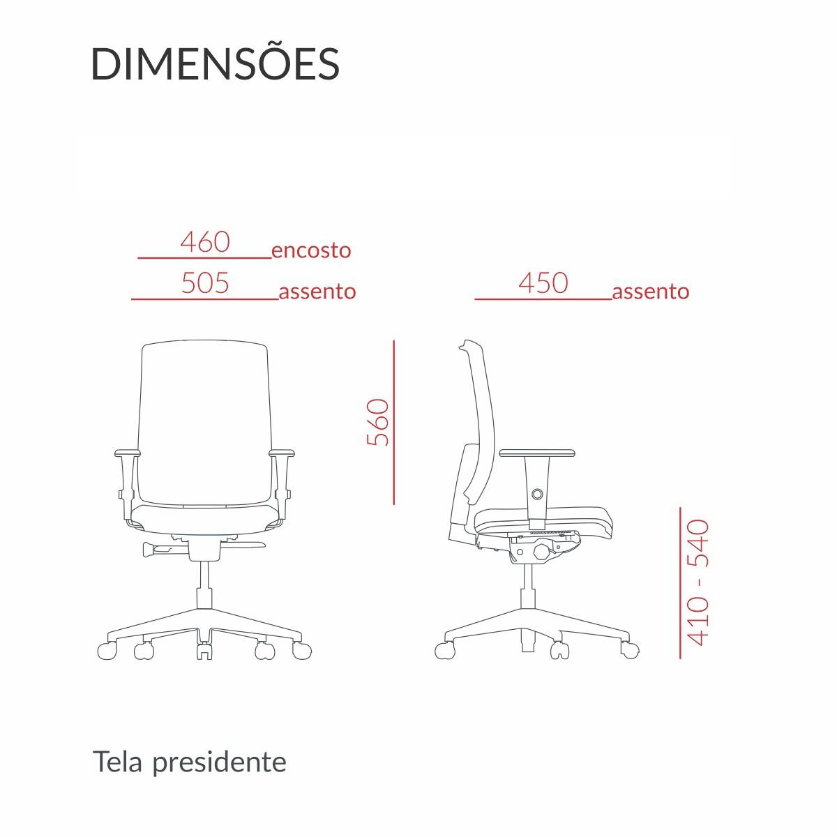 CADEIRA BRIZZA TELA PRESIDENTE GIRATÓRIA COM MECANISMO BACK-SYSTEN E BRAÇOS REGULÁVEIS - NR.17 PRETA
