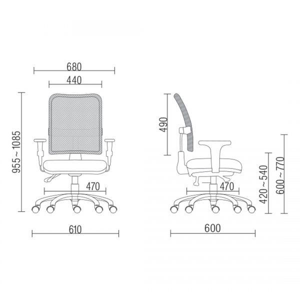 Cadeira Executiva Operacional Soul com encosto em tela Braços Reguláveis e Mecanismo Back-systen com Base em aço preta