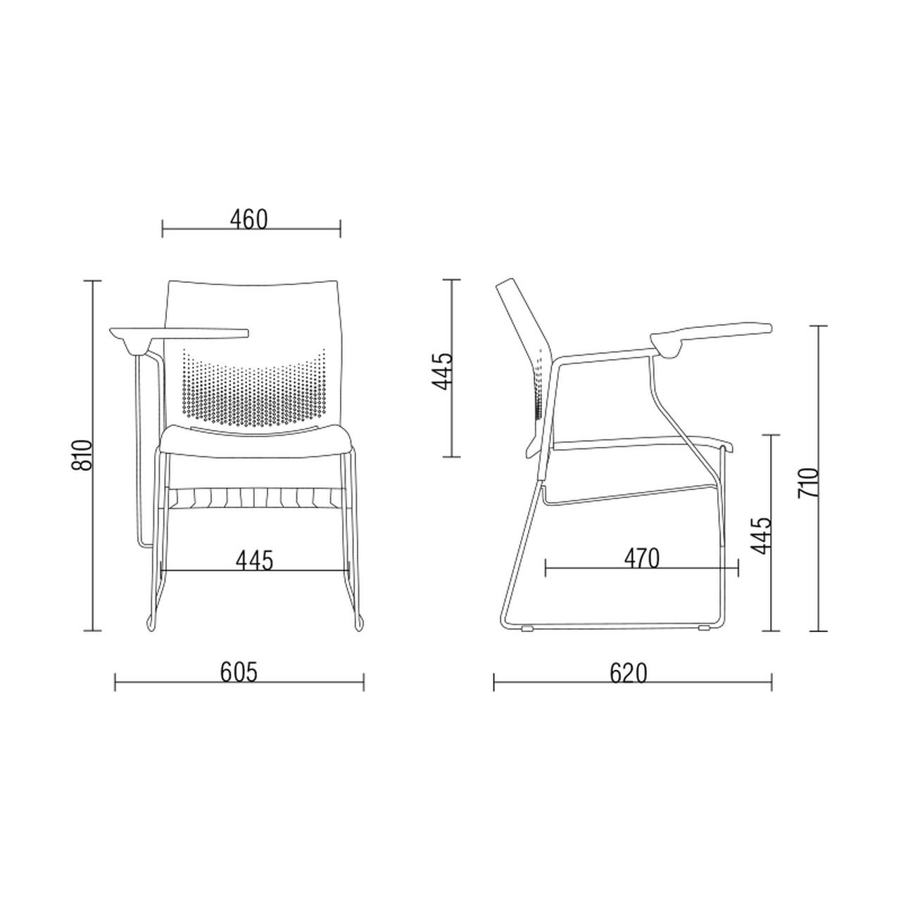 Cadeira fixa Connect com prancheta escamoteável e gradil encosto e assento em polipropileno