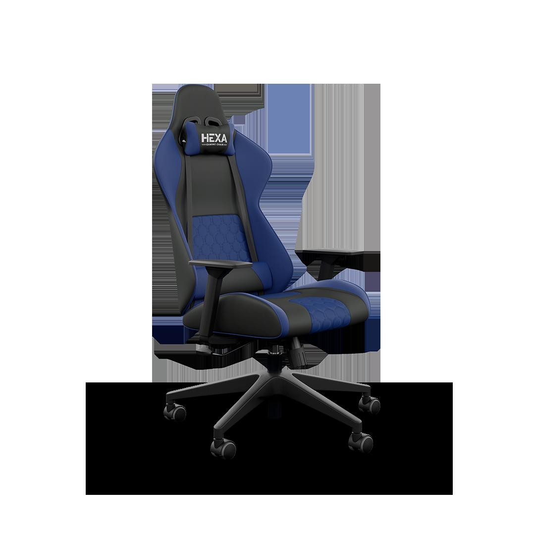 Cadeira Hexa Gaming Chair com Acessório Lombar Preto com Azul