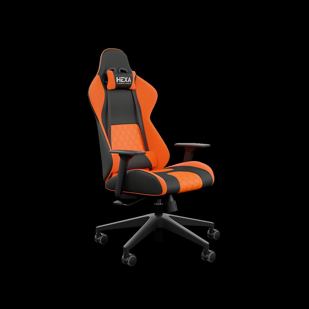 Cadeira Hexa Gaming Chair com Acessório Lombar Preto com Laranja