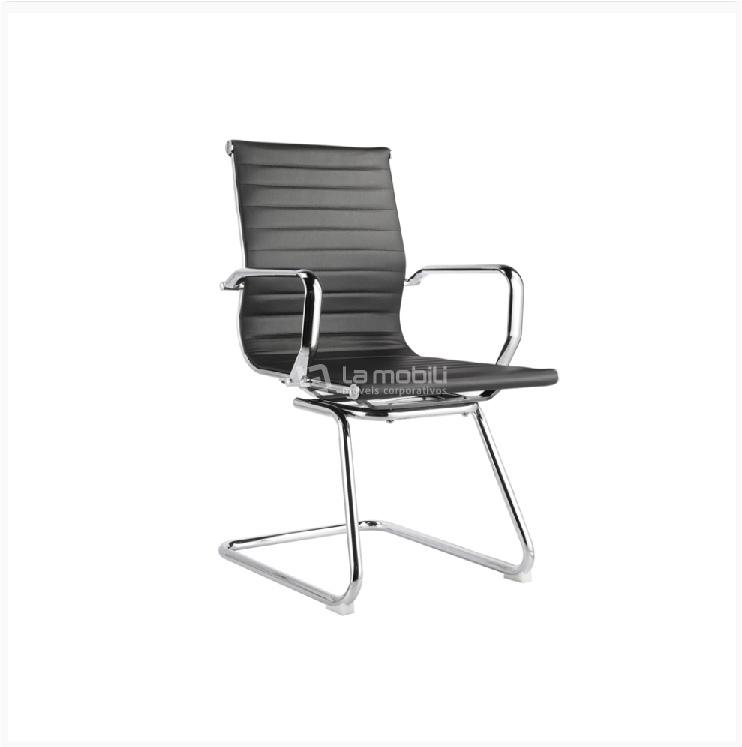 Cadeira Interlocutor Sevilha Baixa com Braços Fixos Cromados