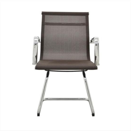Cadeira Interlocutor Sevilha Baixa em Tela com Braços Fixos Cromados