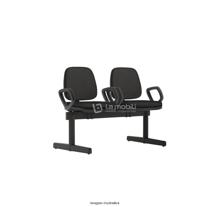 Cadeira Longarina Job Estofada com Base Fixa, 2 Lugares com ou sem Braço
