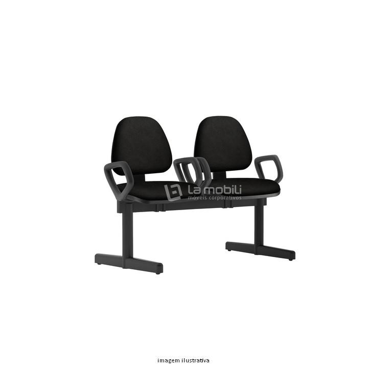 Cadeira Longarina Sky Estofada com Base Fixa, 2 Lugares com ou sem Braço