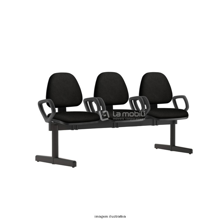 Cadeira Longarina Sky Estofada com Base Fixa, 3 Lugares com ou sem Braço
