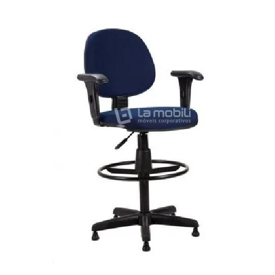 Cadeira Operacional Caixa Executiva Action com Lâmina Encosto Fixo e Braços Reguláveis
