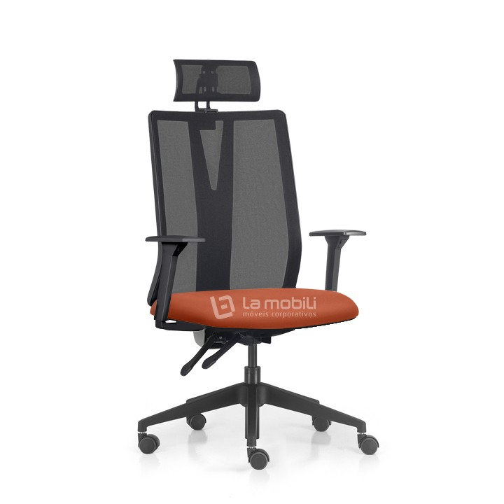 Cadeira Presidente Addit com Encosto em Tela, Braços Reguláveis e Apoio de Cabeça Ajustável