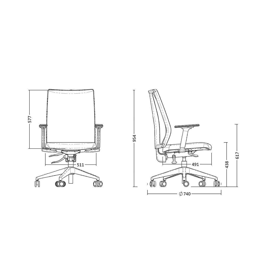 Cadeira Presidente Giratória Addit Alta com encosto em tela Braços Reguláveis e Mecanismo de ajuste Evolution