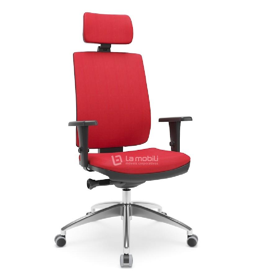 Cadeira Brizza Soft Presidente Giratória com Apoio de Cabeça Braços 3D e Base em Alumínio