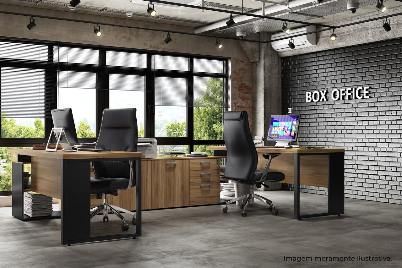 Mesa de Escritório Diretiva em L com Armário e Pés em Aço - Start