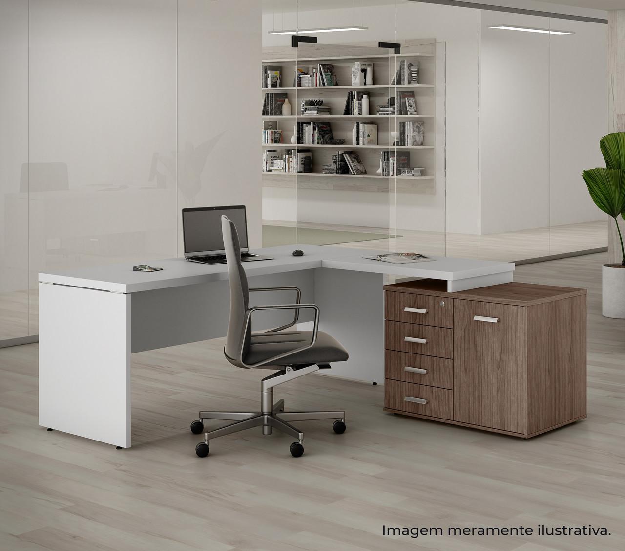 Mesa de Escritório em L com Armário Combo Prima Impact