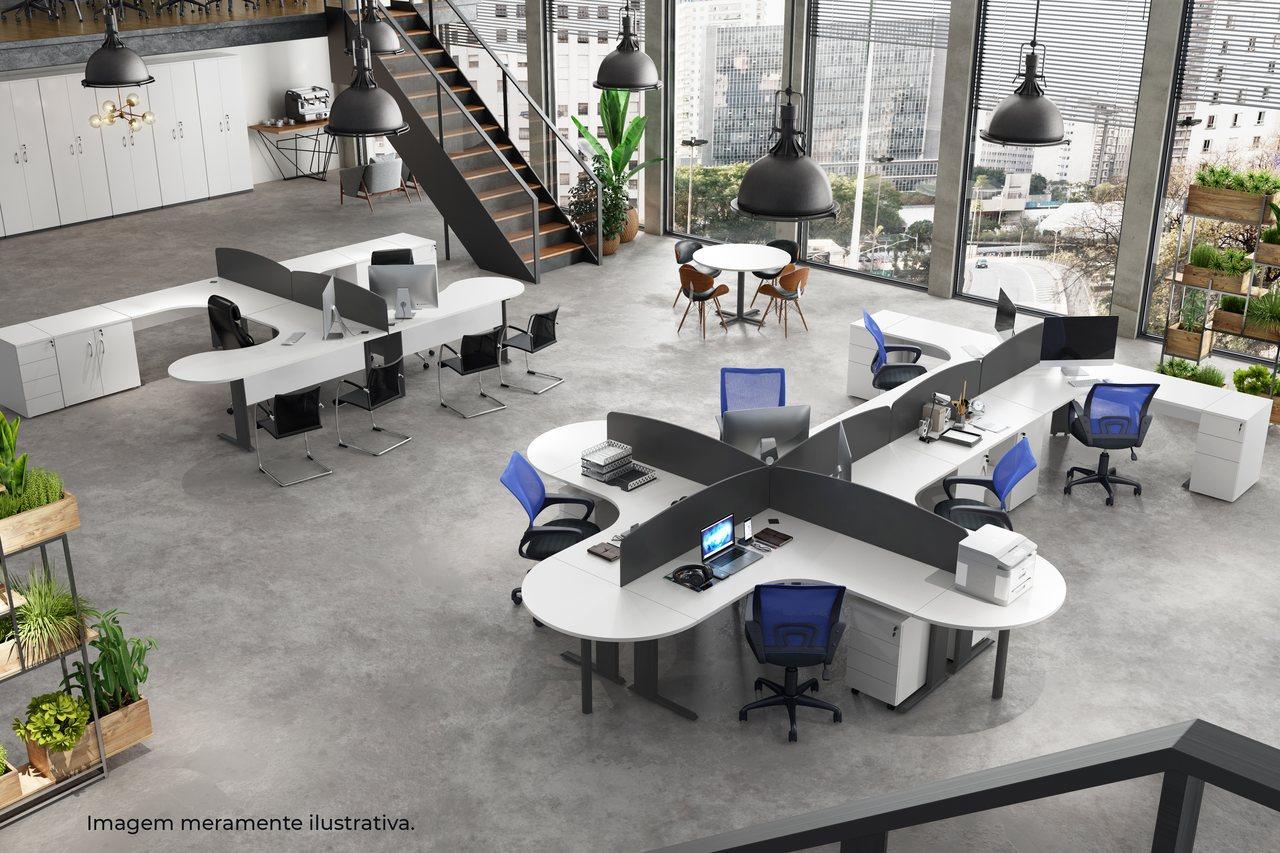Mesa de Escritório Angular Circular com Pés em Aço - Lexus