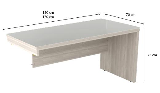 Mesa de Escritório Diretiva Retangular com Gaveteiro e Tampo de Vidro - Prima Impact