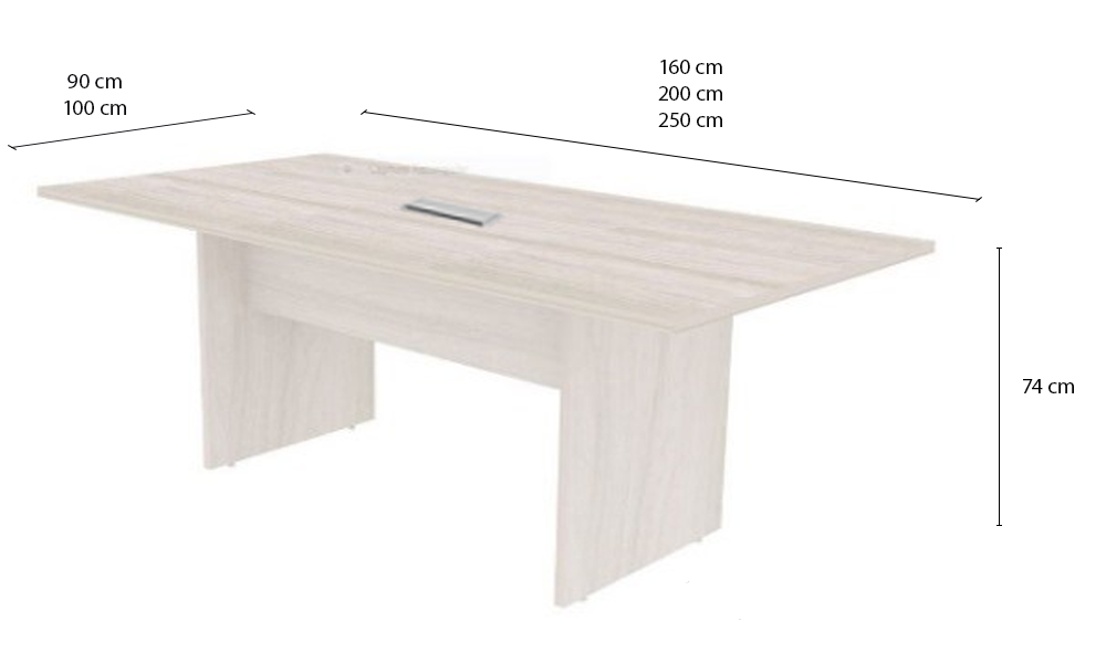 Mesa de Reunião Retangular com 01 Caixa de Tomadas - Prima Clean