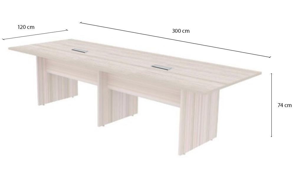 Mesa de Reunião Retangular com Tampo Bipartido e 02 Caixas de Tomadas - Prima Clean