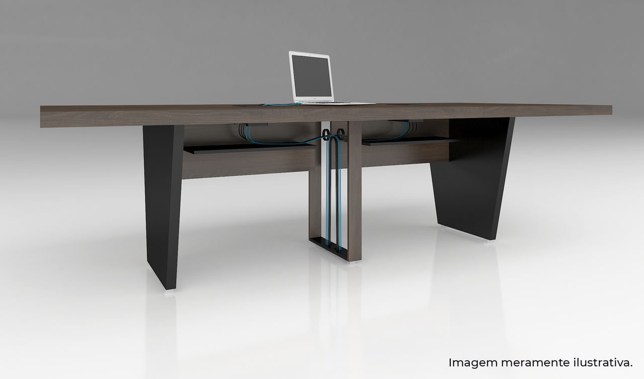 Mesa de Reunião Retangular com Caixa de Tomadas - Edge