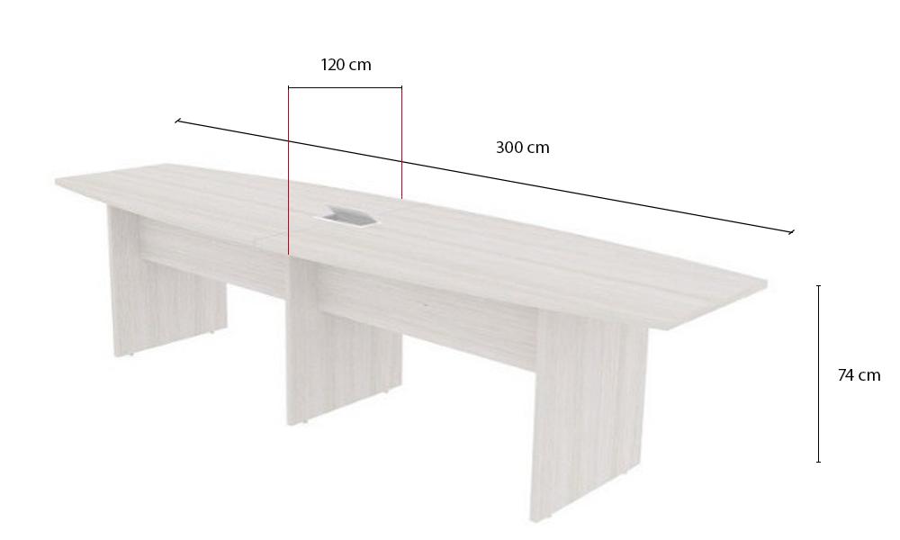 Mesa de Reunião Semi Oval com Tampo Bipartido e 01 Caixa de Tomadas - Prima Clean