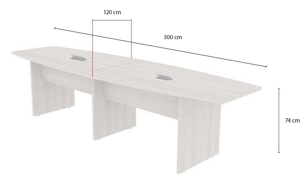 Mesa de Reunião Semi Oval com Tampo Bipartido e 02 Caixas de Tomadas - Prima Clean