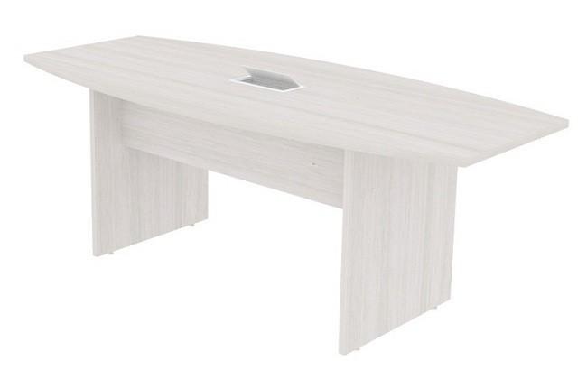 Mesa de Reunião Semi Oval com 01 Caixa de Tomadas - Prima Clean