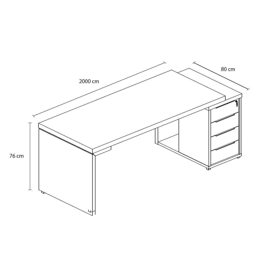 Mesa Diretor Retangular Dinâmica com Gaveteiro Pedestal - Edge