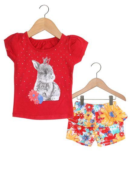 ... Conjunto Bebe Infantil Blusinha com Shorts Elian Estampa Coelhinho -  Arco-Iris Baby  1a45e99c4377f