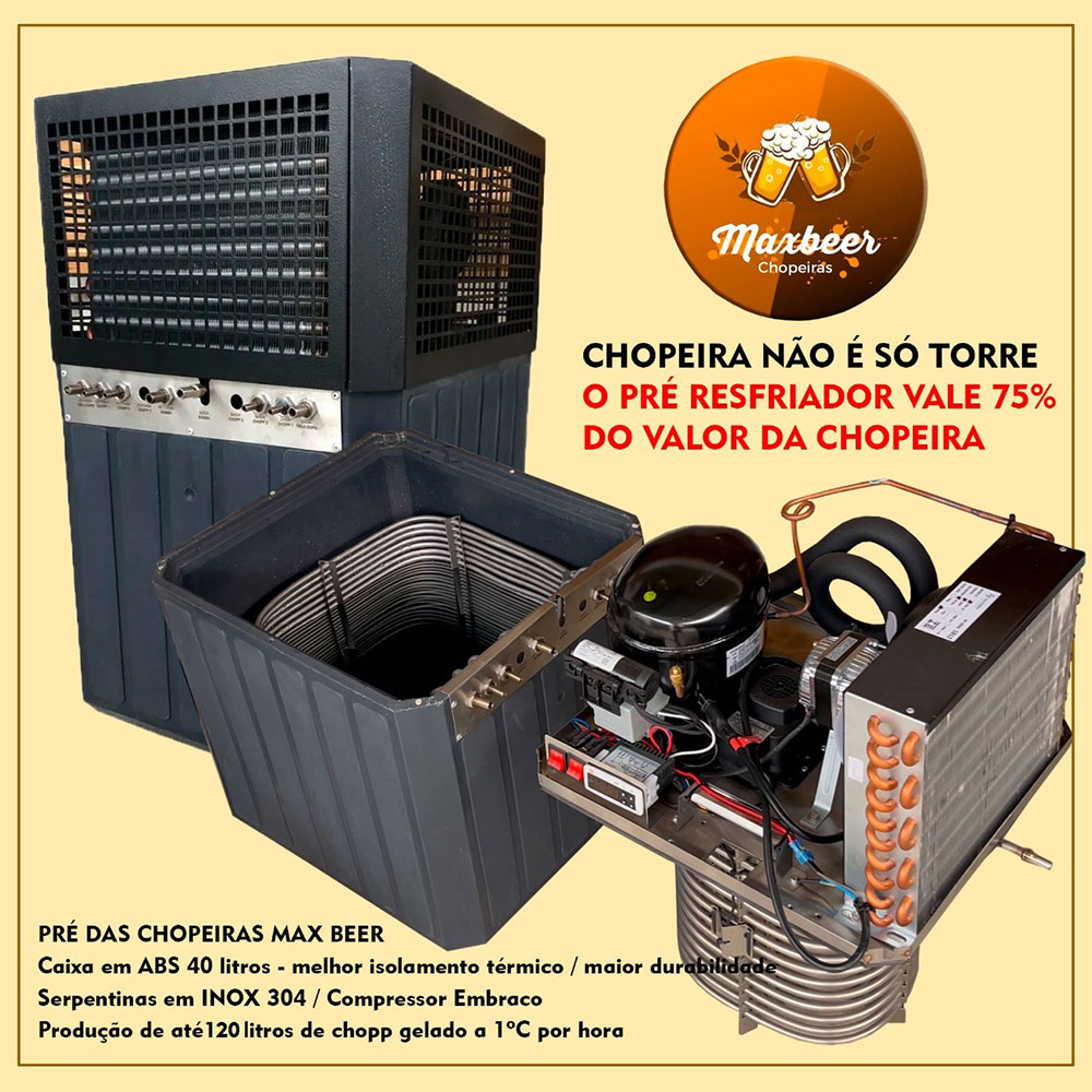 Chopeira Torre Naja Italiana 3 Vias Completa 60 Metros Serpentina Congelada Turbo 60  - MAXBEER CHOPEIRAS