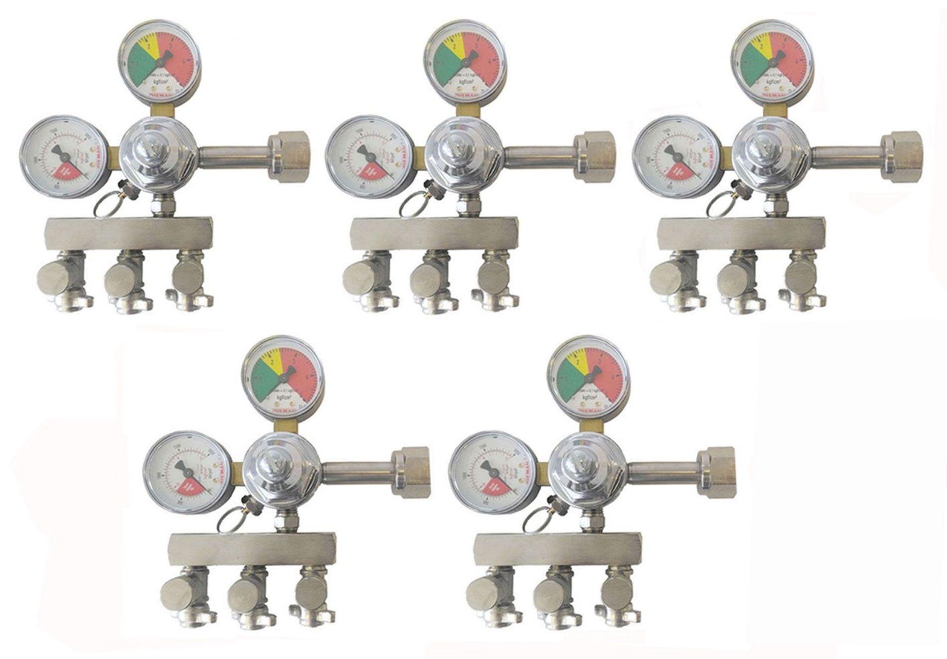 KIT 5 REGULADORES DE PRESSÃO CO2 PARA CHOPP 3 SAÍDAS AJUSTE FINO