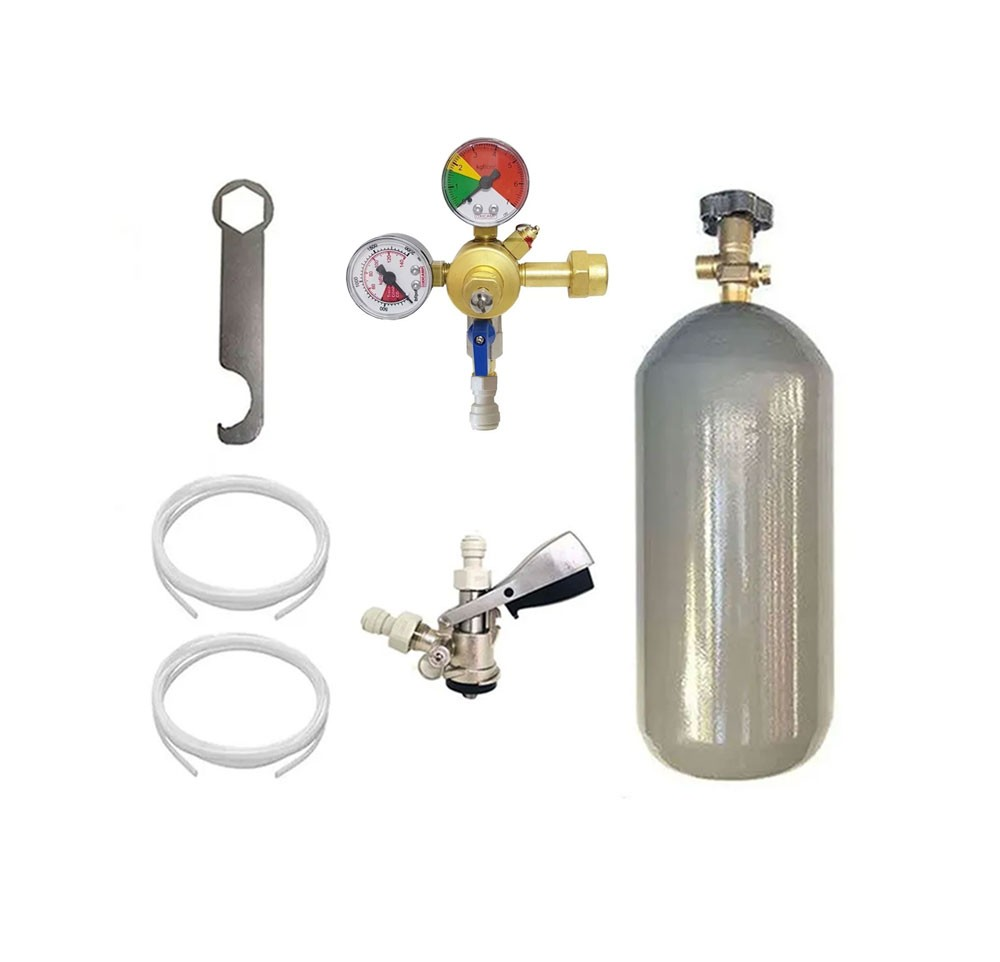 KIT DE EXTRAÇÃO CO2 4KG COM REGULADOR DE 1 VIA PARA CHOPP COMPLETO COM ENGATE RÁPIDO
