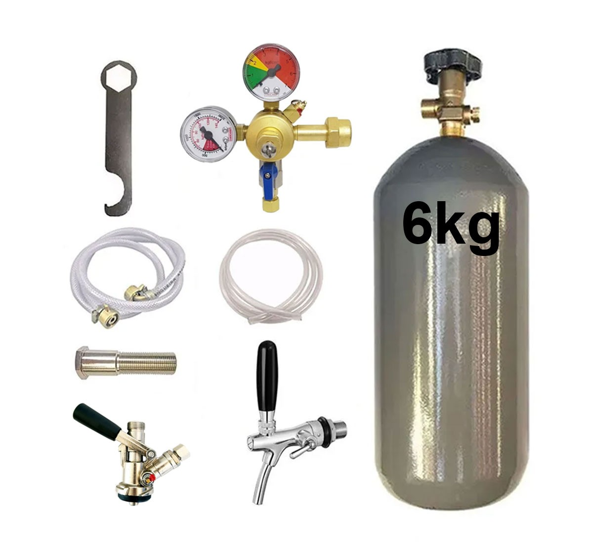 KIT DE EXTRAÇÃO CO2 6KG COM REGULADOR DE 1 VIA PARA CHOPP COM TORNEIRA COMPLETO